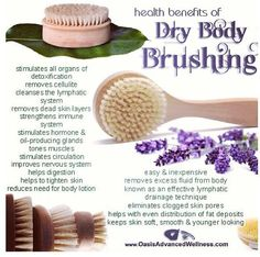Natural Cures Not Medicine: Dry Body Brushing - Dry body brushing has been around for centuries. It is a great way to detoxify the skin aid in lymphatic drainage and helps in reducing cellulite to name but a few of the many benefits. Benefits Of Dry Brushing, Dry Body Brushing, Natural Cures, Natural Healing, Natural Skin Care, Natural Beauty, Au Natural, Tighten Loose Skin, Health And Beauty Tips