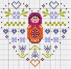 Free Matryoshka Heart Cross Stitch Chart Pattern