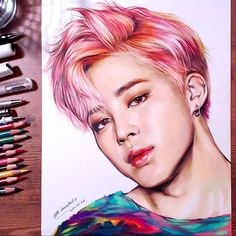 BTS Jimin - colored pencil drawing Yaoyao Ma Van As ( Bts Jimin, Jimin Fanart, Kpop Fanart, Kpop Drawings, Pencil Drawings, Fan Art, Bts Fans, Drawing Skills, K Pop