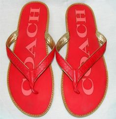 Coach Monogram Red Gold Flip Flops Size 7 Same Day Shipping | eBay