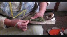How traditional espadrilles are hand sewn in la Rioja, Spain ( alpargatas ) how to make espadrilles, via YouTube.