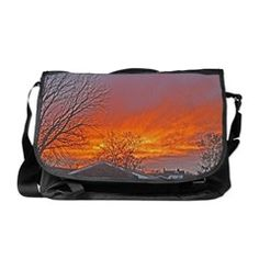 Glowing Red Sky Sunsets Messenger Bag