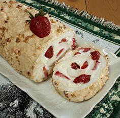 Strawberry Hazelnut Pavlova Roll