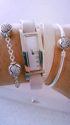 PANDORA Watch, Bangle and 5 Clip Station Bracelet Featuring Pale Pink Pave…