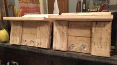 Pallet shelves, glass knobs, chalk paint with antique wax