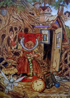 1988 Michael Hague illustrated version of J.M Barrie's PETER PAN.  This print shows an older lady (Mother Time) sewing in front of a small fairy cottage. There are fairies in the foreground and peering over the roof