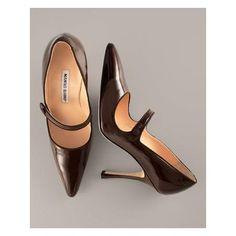 #ManoloBlahnik Patent Leather #MaryJane, Dark Brown