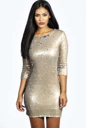 Clare Long Sleeve Sequin Bodycon Dress