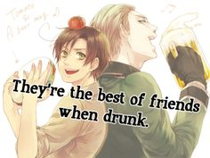 Hetalia ~~~ Germany and Romano ....hmm... a beer with a tomato chaser? not sure about that.