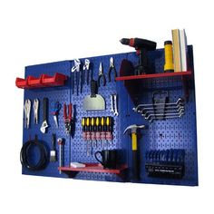 Wall Control Pegboard Standard Tool Storage Kit - Blue Blue with Red Accessories - 30-WRK-400 BUR