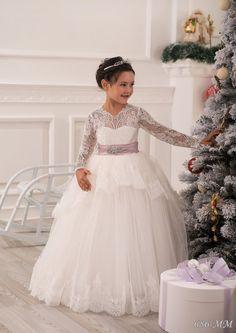 Lace Ivory Flower Girl Dress Wedding Party por Butterflydressua