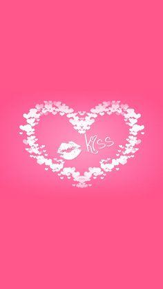 Kiss iPhone 5 Wallpaper. Pink Kisses Wallpaper, Heart Wallpaper, Trendy Wallpaper, Love Wallpaper, Cute Wallpapers, Bright Wallpaper, Holiday Wallpaper, Iphone Se, Pink Iphone
