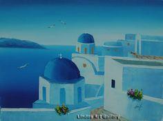 Black and white santorini windmill painting greek scene for Santorini blue paint