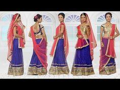 97b97a6235 How To Wear Lehenga Saree To Look Slim Step By Step – 5 Gorgeous Ways To Drape  Lehenga Dupatta - YouTube