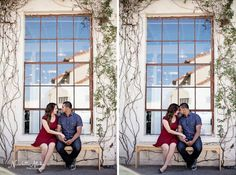 Downtown L.A engagement. Love the white walls, big windows and vines.