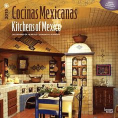 Cocinas Mexicanas - Kitchens of Mexico 2015 Square (Spanish) (Spanish Edition) (Spanish and English Edition) Mexican Style Kitchens, Mexican Style Decor, Mexican Kitchen Decor, Blue Kitchen Decor, Eclectic Kitchen, Kitchen Decor Themes, Hacienda Kitchen, Hacienda Homes, Large Kitchen Design