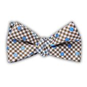 Memphis - Beale St. Dotted Plaid - Taupe (DWade Reversible Bow Tie) from TheTieBar.com - Wear Your Good Tie Everyday