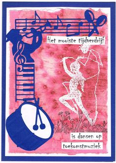 Willy Kamphuis zelfgemaakte kaarten: achtergrond met brusho en zeezout. De muziekmal gekocht bij Vele Groeten in Sluis