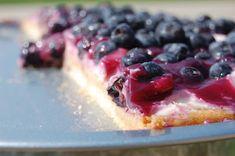 Dessert pizza! Lemon Cream Cheese with Fresh Blueberries on a sugar cookie crust! #dessert #pizza
