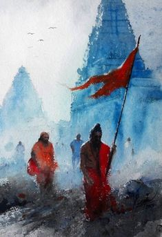 30 Traditional Indian Art Paintings on Canvas - Cartoon District Watercolor Water, Abstract Watercolor, Watercolor Paintings, Painting Abstract, Watercolor Postcard, Simple Watercolor, Knife Painting, Lord Shiva Painting, Ganesha Painting