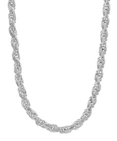 @Overstock - Add just the right amount of shine to your wardrobe with this classic sterling-silver diamond-cut rope chain. This stylish chain is the perfect weight to be worn alone or with a pendant, and features a lobster clasp to hold it securely in place.http://www.overstock.com/Jewelry-Watches/Sterling-Essentials-Sterling-Silver-22-inch-Diamond-Cut-Rope-Chain-3mm/2655279/product.html?CID=214117 $74.99