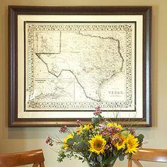 vintage texas decor | Texas Vintage Map