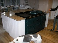 Aga installed in island unit Farmhouse Kitchen Decor, Kitchen Colour Combination, Kitchen Cabinets And Countertops, Aga Kitchen, Industrial Kitchen Design, Yellow Cabinets, Dream Laundry Room, Kitchen, Kitchen Stools