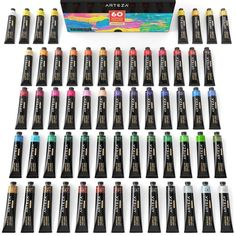 Acrylic Premium Artist Paint Set, Tubes - Set of 60 Acrylic Paint Set, Acrylic Colors, Unique Colors, Vibrant Colors, Landscape Artwork, Color Names, Artist Painting, Pour Painting, Art Supplies