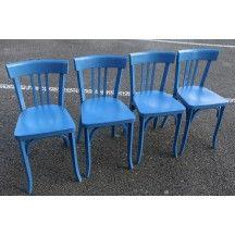 Table et chaise bleues Baumann vintage table chaise bleu pétrole