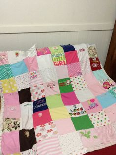 Irie's Blanket. My favorite outfits cut and used for her personal blanket. Her receiving blankets were used for the back. Perfect for cribs and Tot beds. Created and sewn by Addie