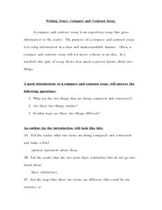 Comparecontrast Essay Outline  Google Search  Education  Thesis  Notes For Writing A Compare And Contrast Essay
