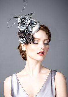 Rachel Trevor Morgan AW 2014 R14W17 - Grey silk taffeta pillbox with silk flowers and quills