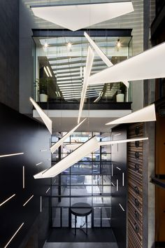 Custom chandelier designed and built by Bomax Architects for First National Bank Headquarters in Bloemfontein, South Africa.