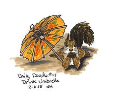 No.17 Drink Umbrella - Drawing / Illustration / Daily Doodle / Squirrel / Lounging / Cute