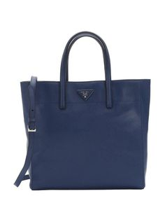 Prada blue saffiano leather convertible shopper tote