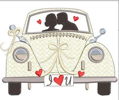 Romantic Wedding car machine embroidery download 3 diff sizes ( 6X5   5X4  4X3) Wedding Cards Handmade, Gift Wedding, Machine Embroidery Applique, Just Married, Quilt Patterns, Sewing Crafts, Pattern Design, Paper Crafts, Romantic