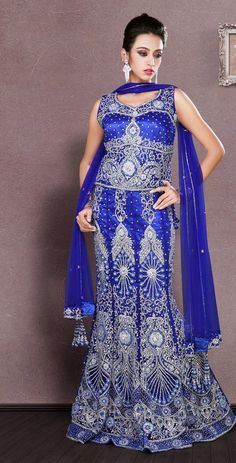 $481.26 Blue Net and Silk Bridal Lehenga 19859 With Unstitched Blouse