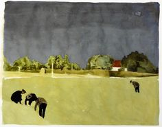 Battue - Karin Mamma Andersson 'Anna Karin Andersson' , 2008 Swedish, Mixed media on paper, 49 x 62 cm Art And Illustration, Illustrations, Landscape Art, Landscape Paintings, Painting & Drawing, Painting Prints, A Level Art, Paintings I Love, Contemporary Paintings