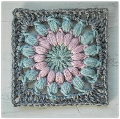 Circlepuff Square crochet pattern - US terms    Round 1: make 16 tr in magic ring.  Round 2: join next colour between 2 tr. Ch 2, make pu...