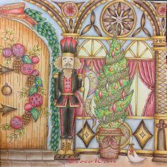 クリスマス(2016.12.18) * 右ページ * クリスマスまでに終わってよかったぁ〜 * #大人の塗り絵 #コロリアージュ #ロマンティックカントリー #romanticcountry #coloring #coloriage #adultcoloringbook