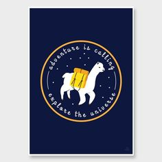 Adventure Llama Navy Art Print by Alice Berry - All Art Prints NZ Art Prints, Art Framing Design Prints, Posters & NZ Design Gifts | endemicworld