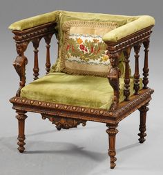 Unusual Renaissance Style Carved Mahogany Square Armchair, 19th c.