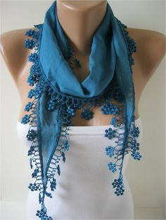 Cotton Scarf with Trim Edge Summer Scarf Shawl by MebaDesign, $13.90
