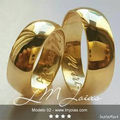 Modelo 02 in 2020 Wedding Ring Pics, Wedding Rings Sets Gold, Wedding Ring Styles, Wedding Ring Designs, Wedding Ring Bands, Engagement Rings Couple, Couple Rings, Couple Ring Design, Gold Ring Designs