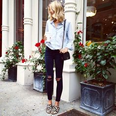 casual spring style, destroyed denim, chambray