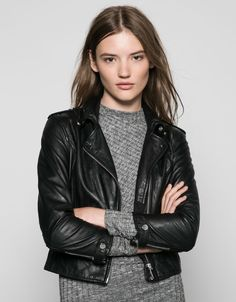 Bershka 3/4 sleeve LEATHER jacket. Discover this and many more items in Bershka with new products every week