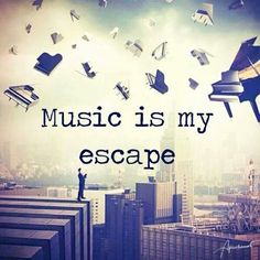 Whether it's just listening or playing your own, is music your escape, too?-music is my escape.i can only escape with music and only music Music Is My Escape, Music Is Life, My Music, Live Music, Passion Music, Hippie Music, Music Flow, Techno Music, Piano Music
