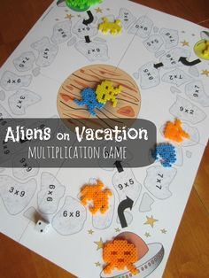 Math Facts Relentlessly Fun, Deceptively Educational: Aliens on Vacation [Printable Multiplication Game] Multiplication Games For Kids, Fun Math, Math Games, Math Activities, Multiplication Problems, Math Problems, Montessori Math, Homeschool Math, Homeschooling