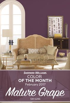 Inspired by the rich purple hues of the vineyard, Sherwin-Williams Color of the Month for February, Mature Grape SW 6286, pairs well with warm, dusky neutrals. Plucked from our noir palette, this soulful grape also shares its roots in February's favorite gemstone—Amethyst.