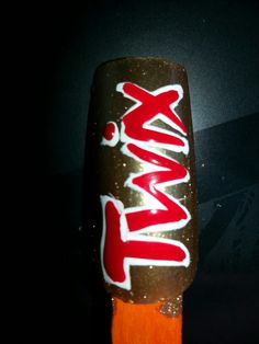 Twix nail art by SJS #nails #nailart #twix #candy